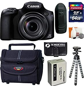 Canon PowerShot SX60 HS 16.1 MP Wi-Fi 65x Optical Zoom Digital Camera + 64GB Card and Reader + Battery + Tripod + Bag + Digital Camera Accessories Kit
