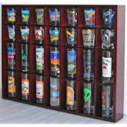 28 Shot Glass Shooter Display Case Holder Cabinet Rack solid wood NO Door Mahogany Finish (SC11-MAH)