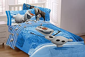 4 Piece Twin Size Olaf Bedding Set Includes 3pc Twin Sheet Set and 1 Comforter