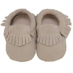 Baby Conda Handmade Slate Suede Baby Moccasins * 100% Genuine Leather * Soft Sole Slip on Baby Shoes for Boys and Girls * 100% Money Back Guarantee Size 0 - 6 Months