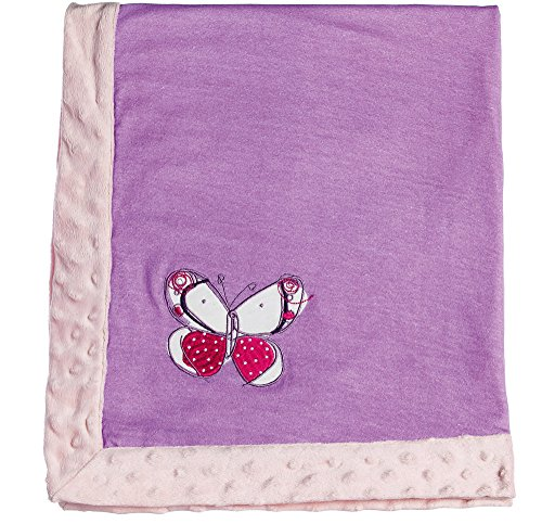 Beautiful Butterflies Pink and Purple Embroidered Minky Dot Blanket