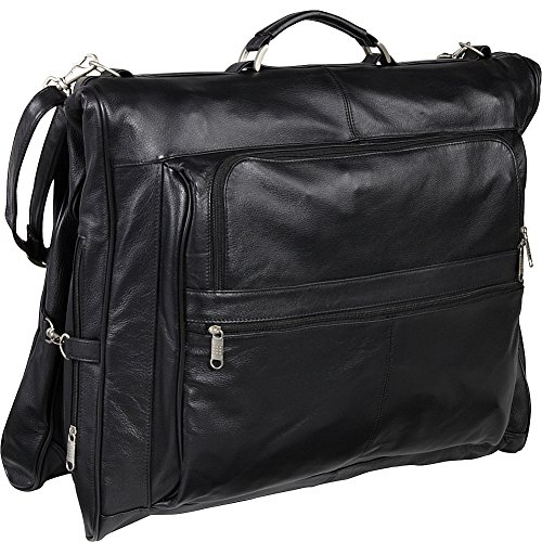 AmeriLeather Leather Three-suit Garment Bag (Black) (Travel Garment Bag Leather compare prices)