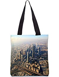 Snoogg City From Top Digitally Printed Utility Tote Bag Handbag Made Of Poly Canvas