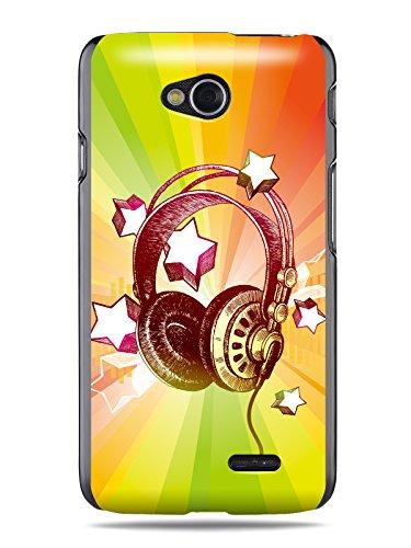 "Grüv Premium Case - ""Colorful Music Dj Headphones & Stars"" Design - Best Quality Designer Print On Black Hard Cover - For Optimus L70 W5 D320 D325 Ms323 Vs450Pp"