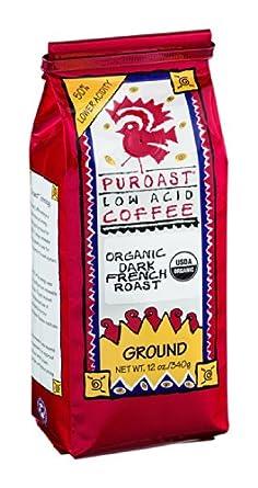 Puroast Coffee Organic Low Acid French Roast Ground Coffee, 12 Ounce -- 6 per case.
