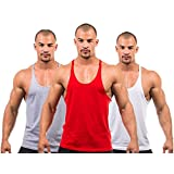 3 X Dk Active Wear BODY BUILDING STRINGER VEST, GYM / STRINGER VEST (Grey,Red,White) MEDIUM
