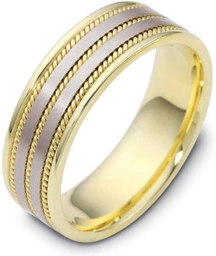 Woven-Style-Two-Tone-14-Karat-Gold-7mm-Comfort-Fit-Wedding-Band-Ring