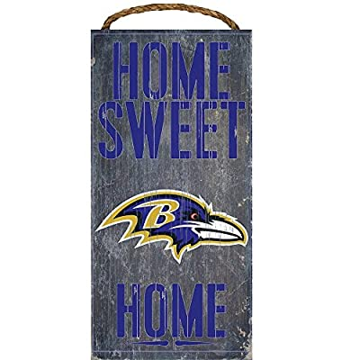 Baltimore Ravens Official NFL 14.5 inch x 9.5 inch Wood Sign Home Sweet Home by Fan Creations 048319