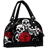 Women's Small Skull & Roses Purse Canvas Handbag
