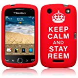 BlackBerry Curve 9380 Keep Calm and Stay Reem Lasered Silicone Skin Case / Cover / Shell - Red/Whiteby TERRAPIN
