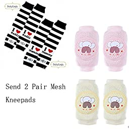 Luckystaryuan ® Set of 2 Boys Cotton Crawling Kneepads (Send 2 Pair Mesh Kneepads) Lovely Baby Socks Leg Warmer Protector Arm Protector (random color)