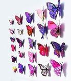 12 Pcs 3D Butterfly Wall Stickers Art Decor Decals (Purple)