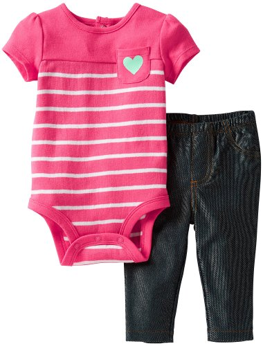 Carter'S Baby Girls' 2 Piece Bodysuit And Jeggings (Baby) - Pink Stripe - 9 Months front-157592