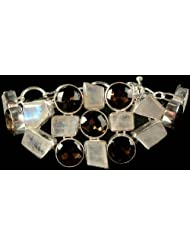 Exotic India Faceted Rainbow Moonstone And Smoky Quartz Bracelet - Sterling Silver