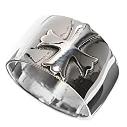 Sterling Silver Ring - Cross - Face Height: 12mm - Band Width: 7mm - Size: 5-13