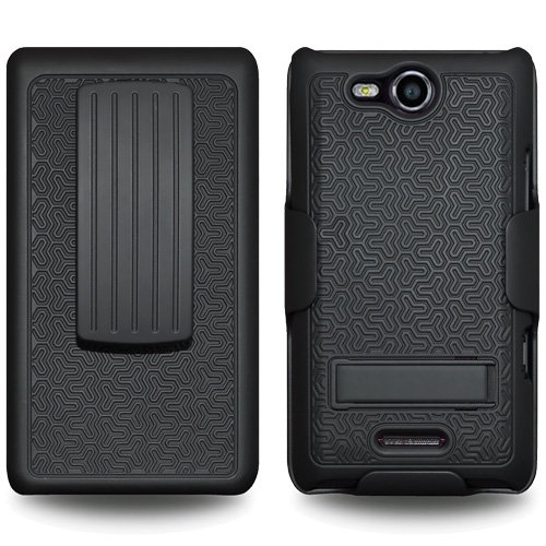 Amzer AMZ93972 Shellster Shell Case Holster Combo with kickstand for LG Lucid 4G VS840  - Retail Packaging - Black
