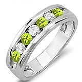14K Gold Round Peridot & White Diamond Mens Anniversary Wedding Band Ring