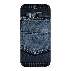 Special Navy Jeans Pocket Back Case Cover for HTC One M8