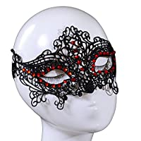 Yazilind Red Crystal Design Masquerade Party Fancy Dress Black Lace Mask by YAZILIND JEWELRY LTD