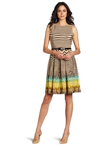 Anne Klein Women's Hazy Floral Fit And Flare Dress With Belt