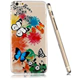 3Cworld iPhone 6 , 6S Case Clear Matte Back Cover Hardshell with Design [4.7'' Hard Plastic] - Retail Packaging - 21 Patterns(butterfly-black)