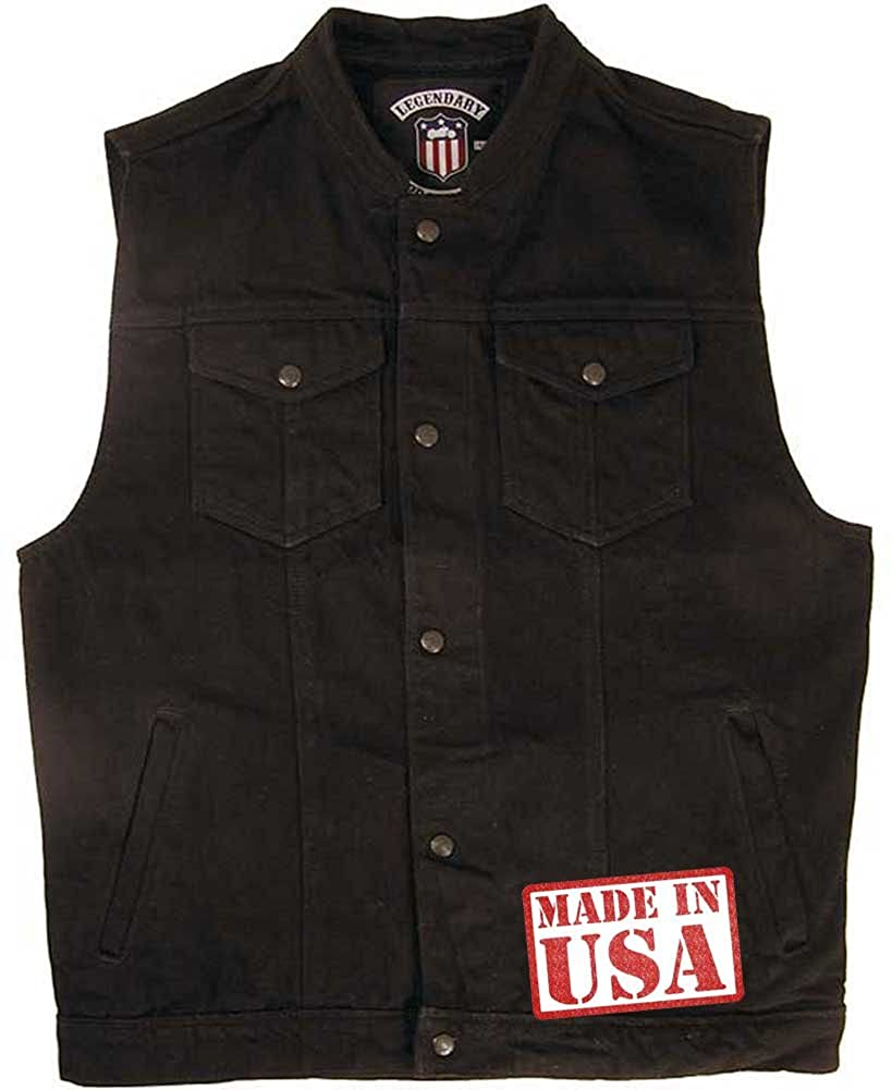 Xelement XS1937 Mens Black Leather Motorcycle Vest