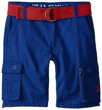 U.S. Polo Assn. Little Boys' Ripstop Cargo Shorts with Belt, Cobalt Blue, 4