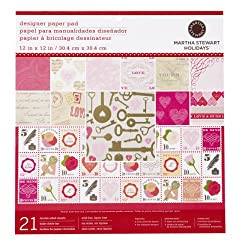 Martha Stewart Crafts Key And Heart Paper Pad, 21 Sheets, 12 by 12 inches