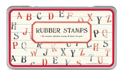Cavallini & Co. Alphabet Designed Stamps Set Includes Wooden Rubber Stamps - Assorted/ Ink Pad - Black