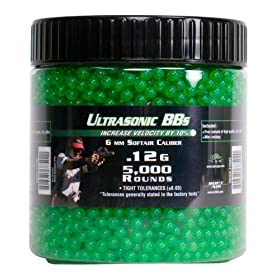 SoftAir 5,000 ct. Bottle Ultrasonic Green Airsoft BBs (6mm, 0.12g)