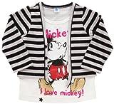 DISNEY・BABY ミッキー 幼児 重ね着風Tシャツ グレー 綿 70404-90サイズ