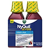 Vicks NyQuil Severe Cough Cold and Flu Nighttime Relief Liquid Twin Pack, Berry Flavor, 2x12 Fl Oz