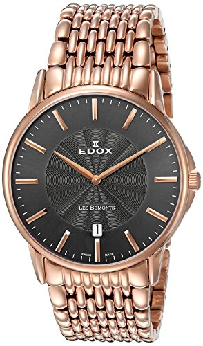 Edox-Mens-56001-37RM-GIR-Les-Bemonts-Analog-Display-Swiss-Quartz-Rose-Gold-Watch