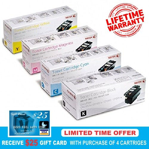 Genuine Xerox Replacement HP 305A CE410A, CE411A, CE412A, CE413A, TONER SET BCYM LaserJet Pro 300, M351, M375, 400, M451, M451dw, M475 Sealed In Retail Packaging : Xerox Lifetime Warranty- Limited time $25.00 mail in rebate