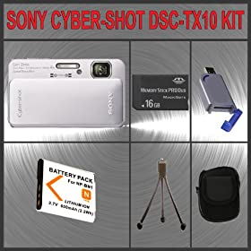 Sony Cyber-Shot DSC-TX10 Digital Camera (Silver) + Huge Accessories Package Including 16GB Memory Stick Pro Duo Memory Card + NP-BN1 Extra Replacement Li-ion Battery Pack + Hi-Speed SD Card Reader + Carrying Case + Table Top Tripod Kit