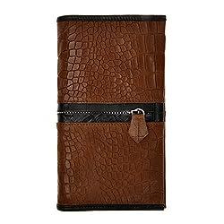 ZLYC Women Two Tone Genuine Alligator Pattern Leather Wallet Card Holder Clutch, Dark Brown
