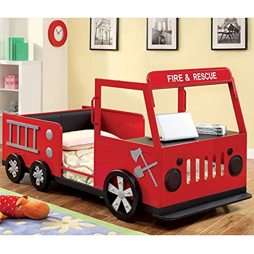 Metal Finish Fire Truck Design Youth Twin Size Bed Frame front-954974