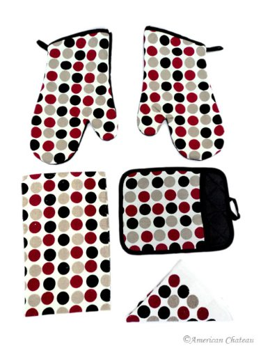 Red/Grey/Black Polka Dots Kitchen 5 Pc Linen Towel Set With Oven Mitt & Pot Holder