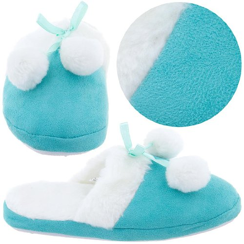 Cheap Turquoise Slippers with White Trim for Girls (B004Z24370)