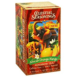 African Tea, Orange Mango Rooibos, 20-Count Tea Bags (Pack of 6