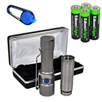 Olight S15 Baton Ti Titanium (Bead Blasted Matt) Special Edition XM-L2 260 Lumens LED single AA Flashlight EDC with free extender tube, Smith & Wesson LED CaraBeamer Clip Light and four EdisonBright AA alkaline Batteries