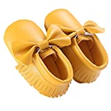 waylongplus Prewalker infantil suave soled borla Bowknots Cuna zapatos PU Moccasins amarillo Dark Yellow Talla:12 (6-12 Months)