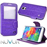 Samsung Galaxy S5 Purple Cover Case Flip Stand + Nu Vur Keychain Sgs5 Epu1