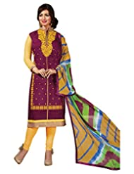 Surat Tex Purple Color Casual Wear Embroidered Chanderi Semi-Stitched Salwar Suit