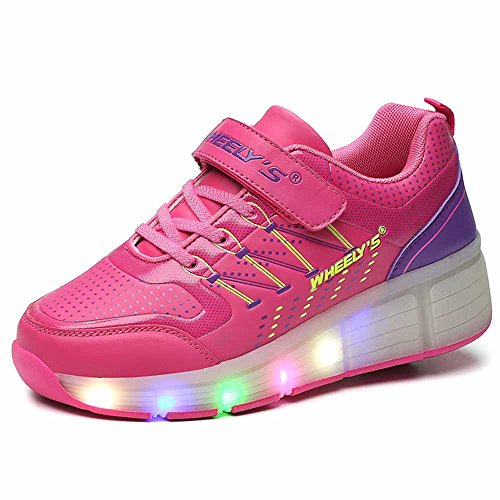 Unisex Mädchen Jungen Kinder LED Leuchtet heelys Sneakers mit einem Cooly Roller Skateboard Schuhe ohne USB (EUR 38(FußLänge:240mm), Rosa)
