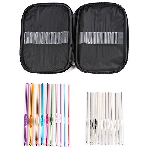 OldShark 22pcs Aluminum Handle Crochet Hooks Knitting Needles Weave Yarn Set Portable Multi-color Mixed (Pcs Mixed Aluminum compare prices)