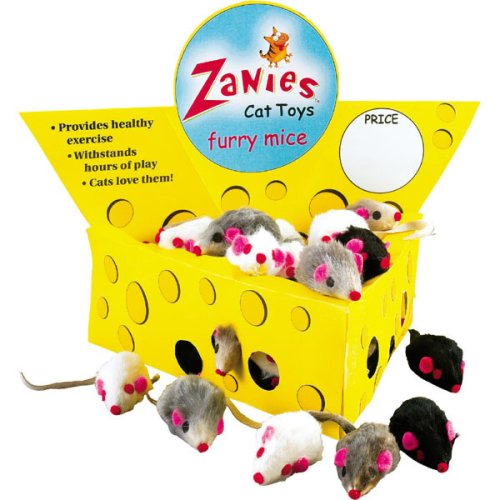 Zanies Cat Cheese Wedge Display with 60 Realistic Furry Mice