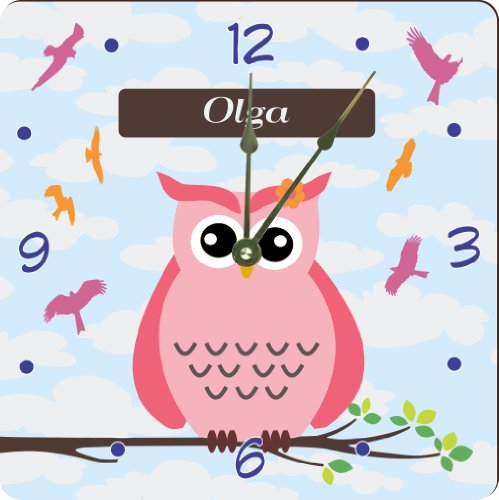 """Rikki Knighttm """"Olga"""" Name - Cute Pink Owl On Branch With Personalized Name Design 6"""" Art Desk Clock front-581852"""