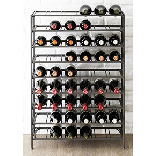 54 Bottle Connoisseurs Deluxe Large Foldable Gray Metal Wine Rack Cellar Storage Organizer Display Stand (Large Wine Bottle Rack compare prices)