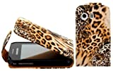 Wayzon Premium Quality Organic PU Leather Flip Case Cover Skin Pouch Shell Built In Hard Plastic Holder Housing With A Brown Wild Cat Design For Samsung S5360 Galaxy Y phone